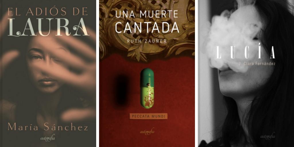 Tríptico de tres portadas de novelas de Autografia protagonizadas por mujeres